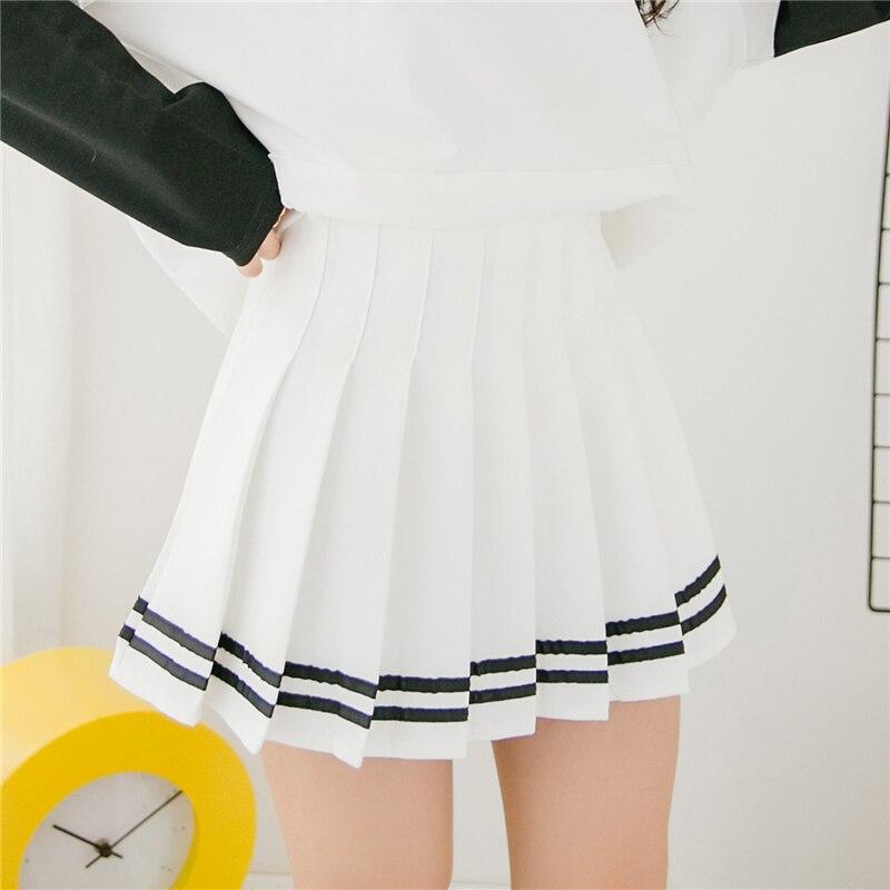 Japanese Pleated Skirts Summer Women High Waist Striped Skirt 2018 Casual elegant Slim Preppy Style short school girls Skirts