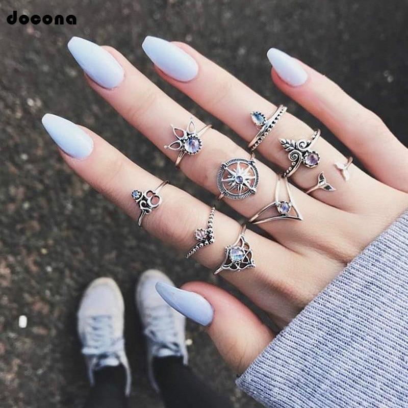 Doocna Vintage 9 unids/set anillos para mujeres damas Color dorado plata flores hueco anillo de boda accesorios joyería 4256