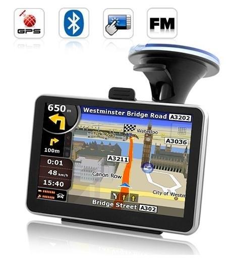 Navegador de gps para coche de 5 pulgadas con Bluetooth y AV en carga interna de 4GB mapa 3D