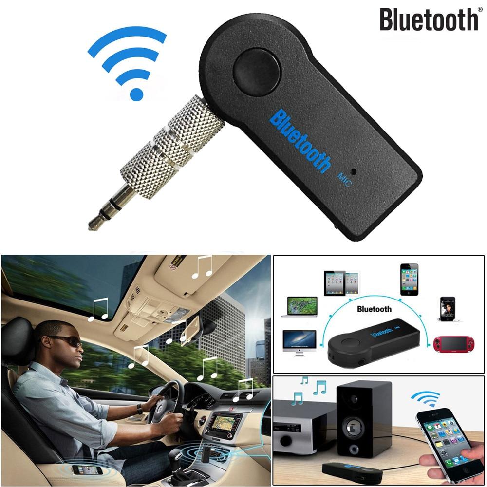 Mini 3,5mm Jack Bluetooth Kit de coche inalámbrico Aux manos libres estéreo música Audio receptor adaptador para altavoces auriculares X2