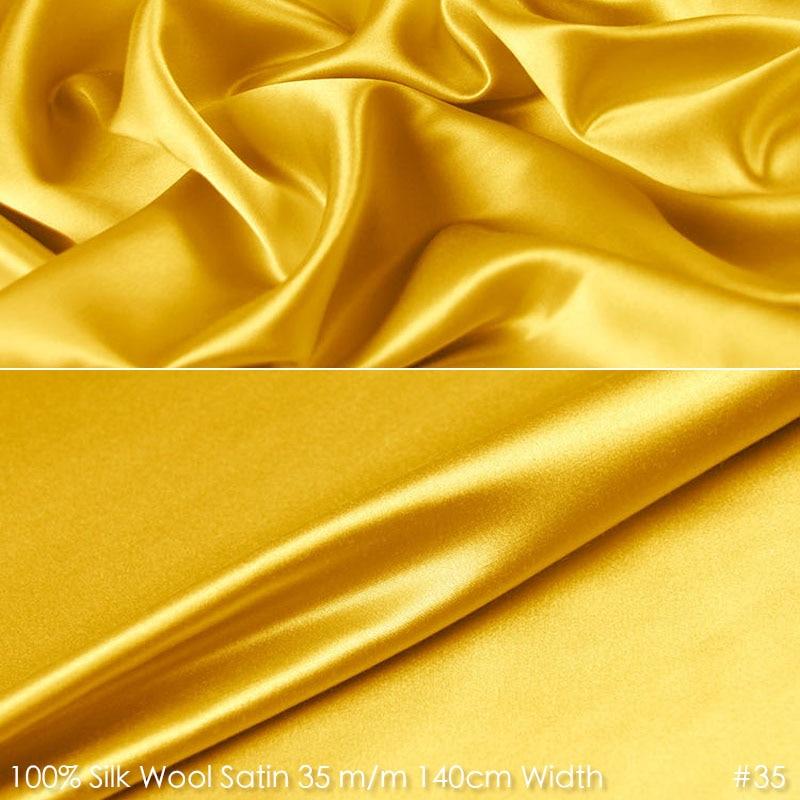 Seda lana satén 140 cm ancho 35mm/35% seda + 65% SEDA Natural tela trajes de felpa tela boda tela de vestido de fiesta 35 amarillo real