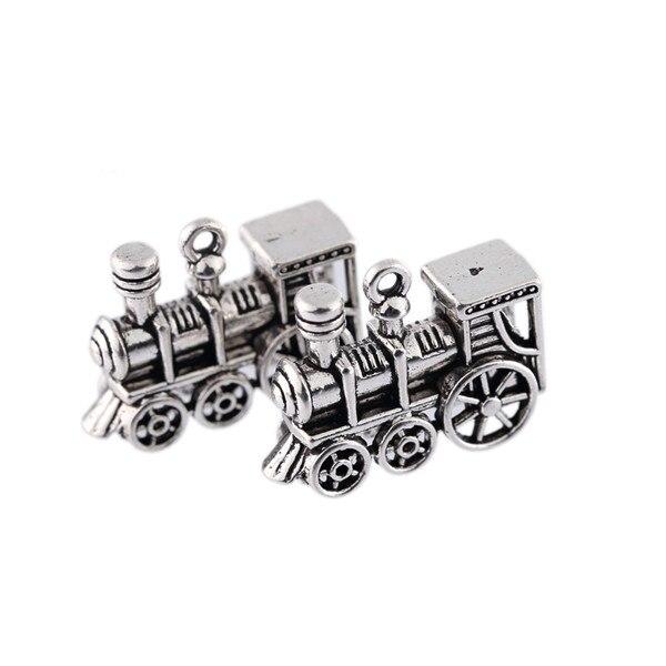 5 uds abalorio plateado tibetano charms Steam train colgante apto para la fabricación de collares punk 2*2,8 cm