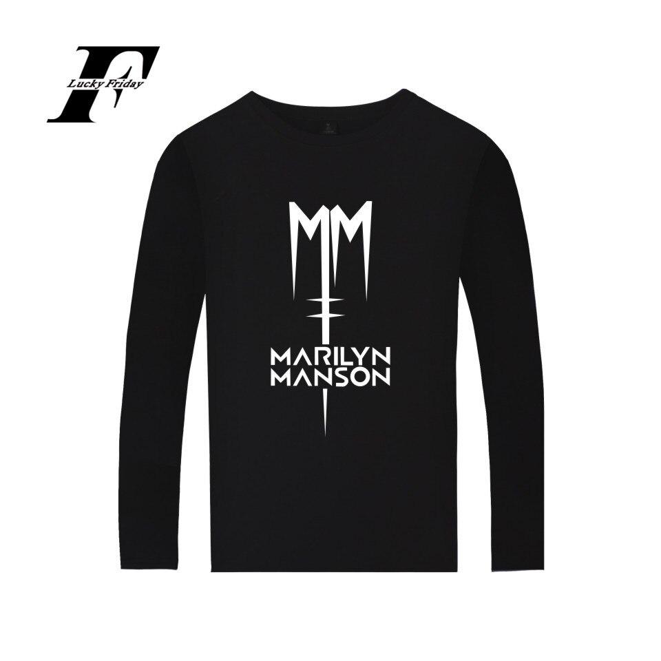 Rock band Marilyn Manson Camiseta de algodón camiseta con manga larga rock and roll música ropa de hombres y mujeres