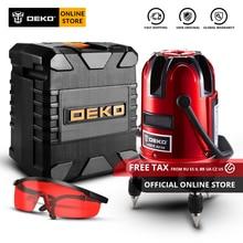 DEKO LL58R 5 lignes 6 Points niveau Laser 360 degrés auto-nivelant Horizontal & Vertical lignes rouges réglage haute visibilité Y Box
