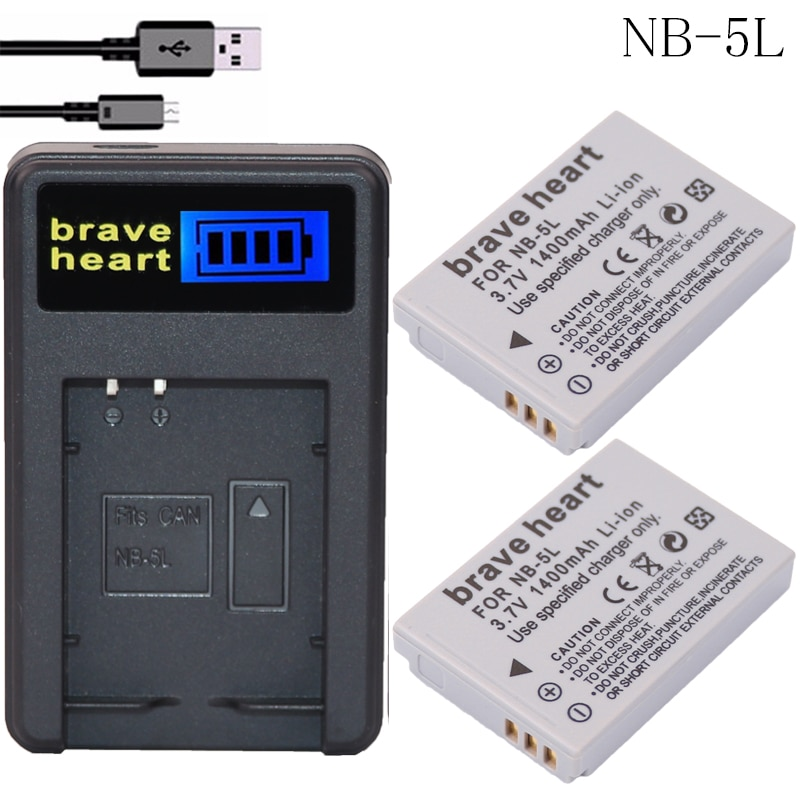 2 piezas NB-5L NB 5L NB5L batería + LCD USB cargador para Canon S110 SX200 SX210 SX220 SX230 es HS IXUS 850, 870, 800, 860, 990 Cámara SD