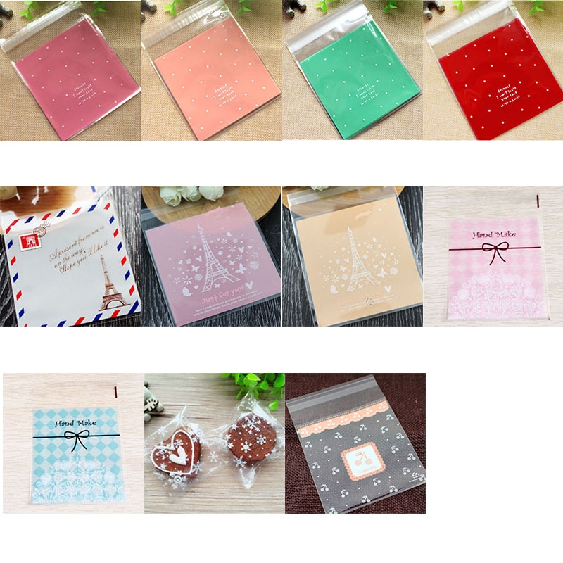50/100p bolsas rosadas de plástico para dulces, bolsas de regalo de galletas para Celofán transparente de galleta refrigerio, paquete para hornear, suministros para fiestas 8z