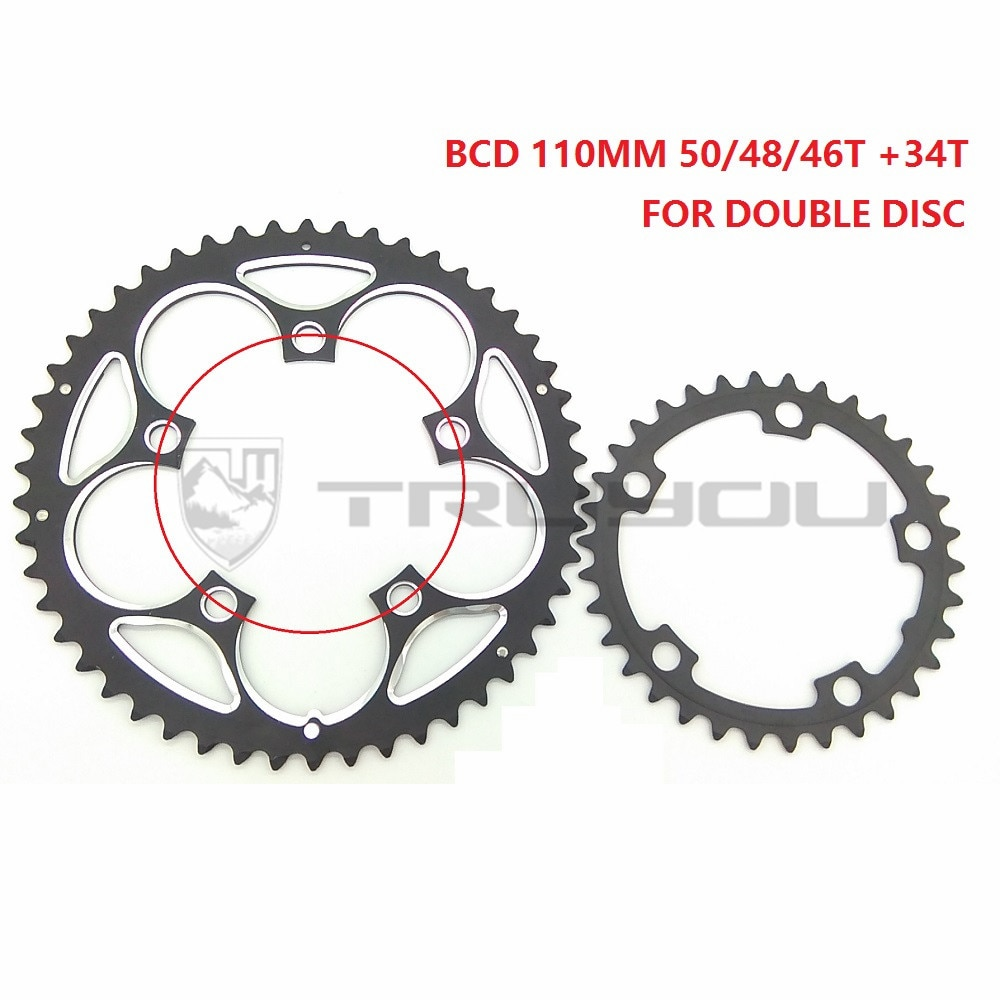 TRUYOU rueda de cadena BCD 110MM 50T 48T 46T 34T camino de bicicleta plegable plato de bicicleta de rueda libre 5-9 doble velocidad de disco