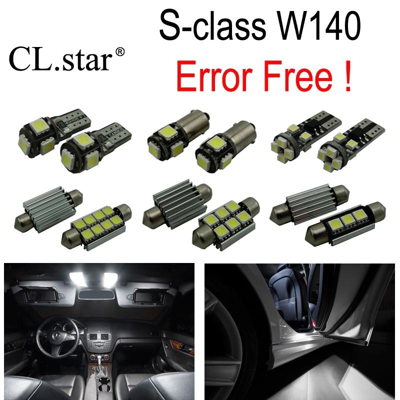 22 pc X Erro Free LED interior dome lâmpada luz Kit pacote para Mercedes Benz classe S W140 S320 S350 S420 S500 S600 (1994-1998)