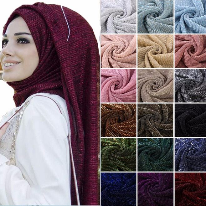 Платок-тюрбан для женщин, мусульманский Шиммер, шарф 75x180 см, 10 шт./лот, опт