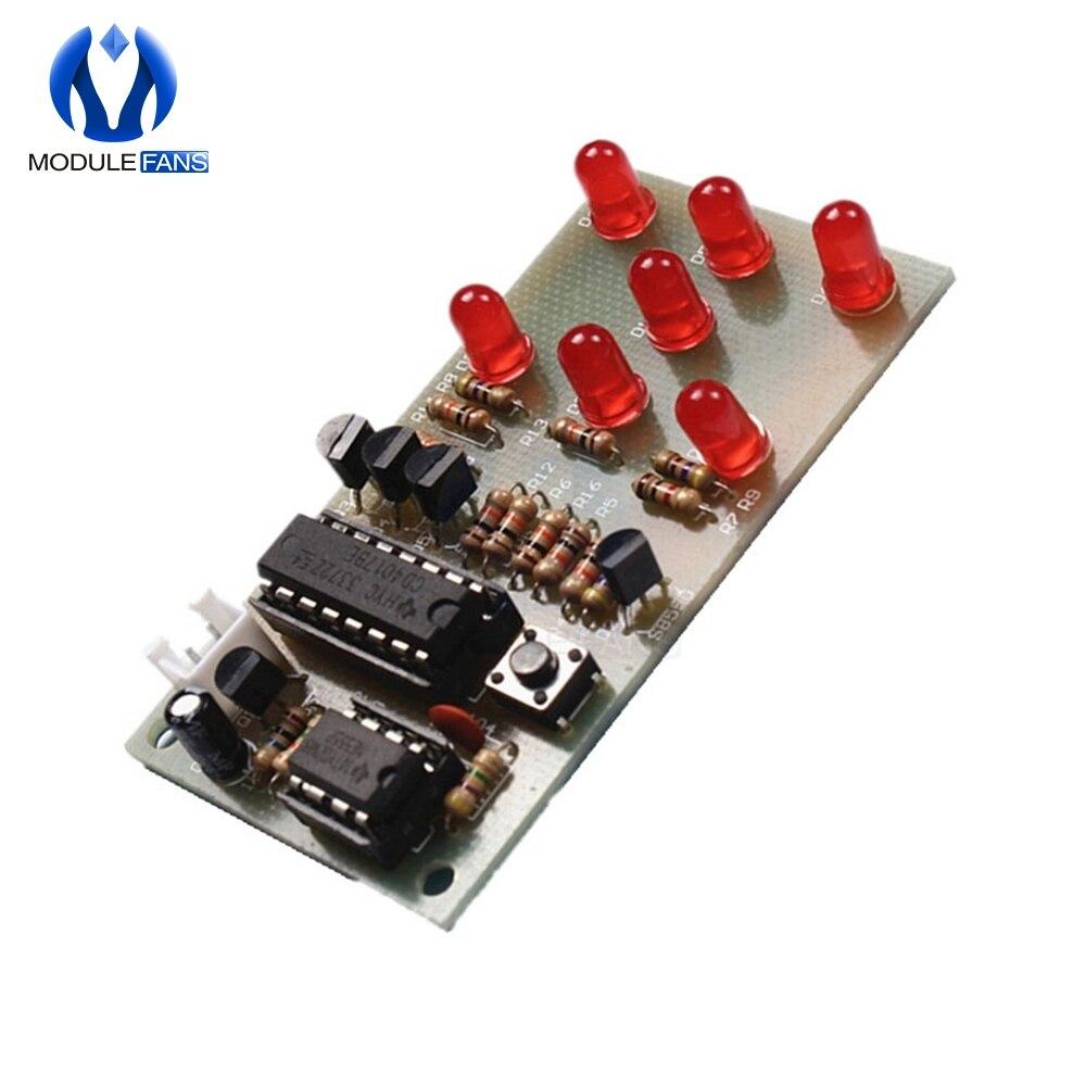 Dados electrónicos NE555 módulo LED CD4017 DIY Kit 5mm LED rojo 4,5-5 V ICSK057A módulo electrónico divertido Diy electrónico