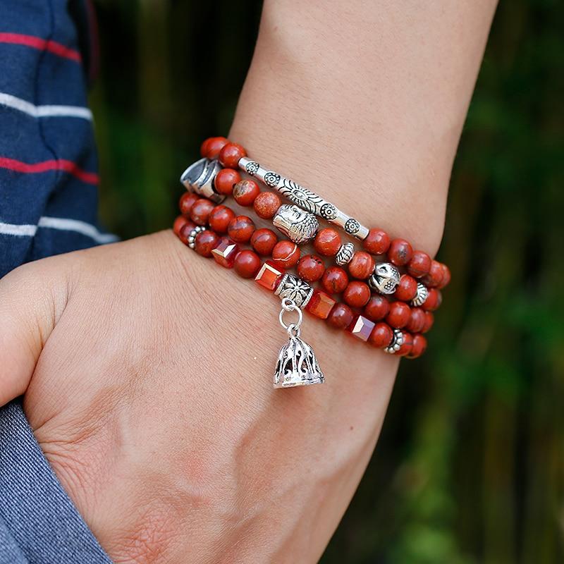 108 mala grânulos de pedra vermelha natural wrap pulseira cristal yoga colar meditação rosário lótus liga charme pulseiras