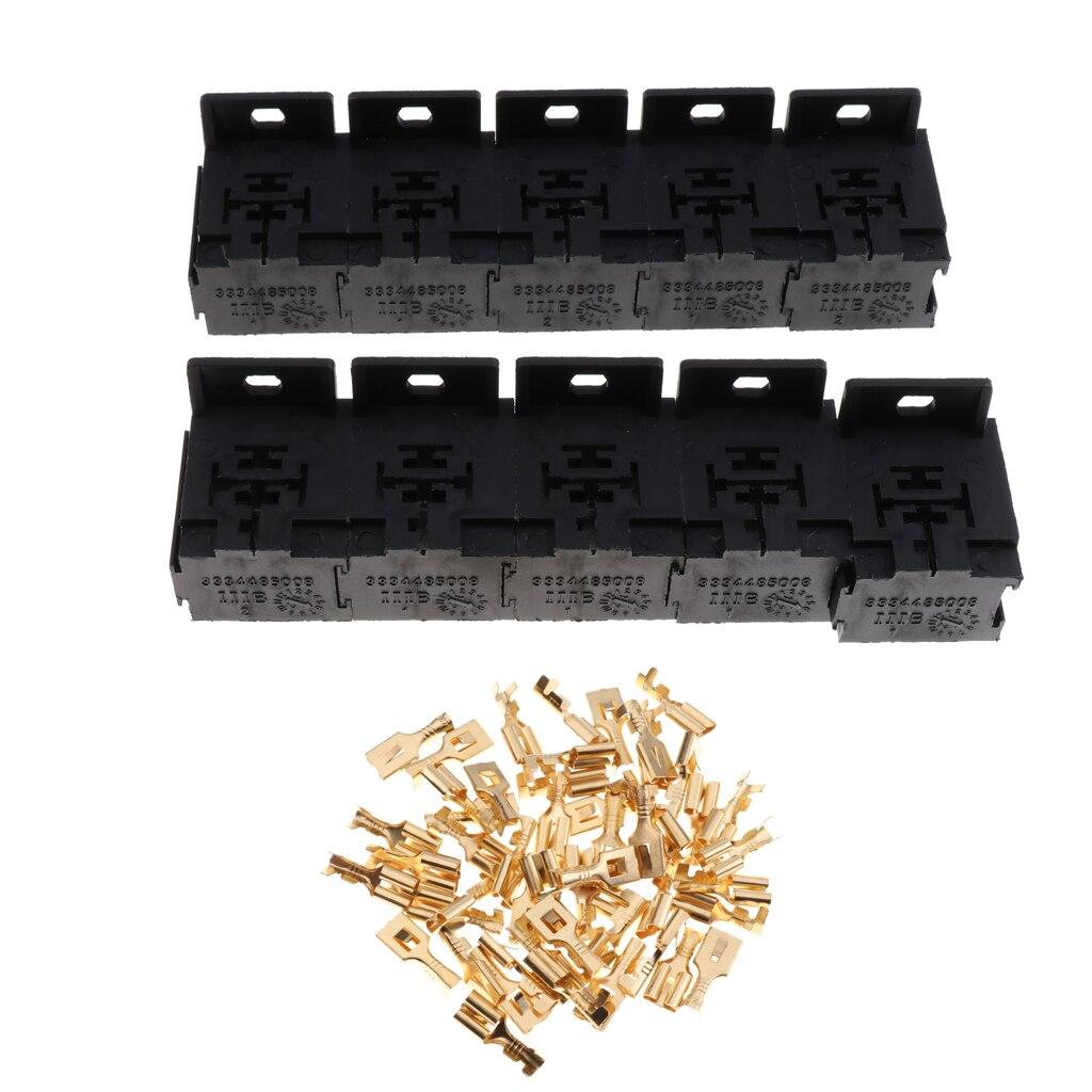 10 juegos 12 V/24 V 30A-80A soporte de toma de relé de coche conector y terminales de 5 pines