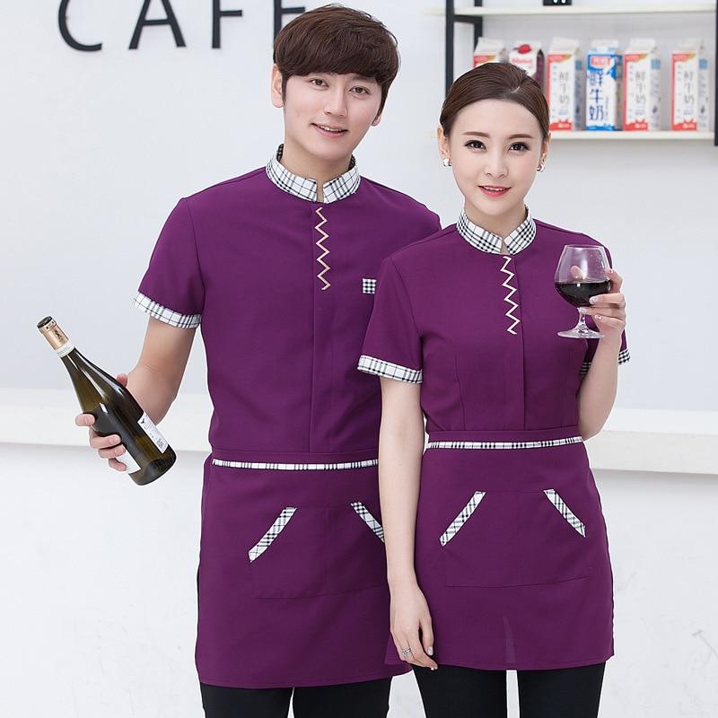Женская рабочая одежда, рабочая одежда с коротким рукавом, рабочая одежда для гостиниц, рабочая одежда для кофейни, детские комбинезоны
