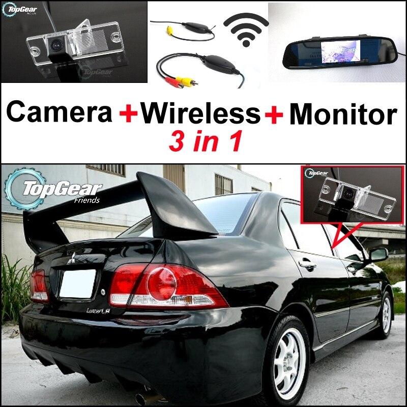 Cámara especial 3 en 1 + receptor inalámbrico + Monitor de espejo DIY sistema de aparcamiento de respaldo para Mitsubishi Lancer lioncel V3 Virage