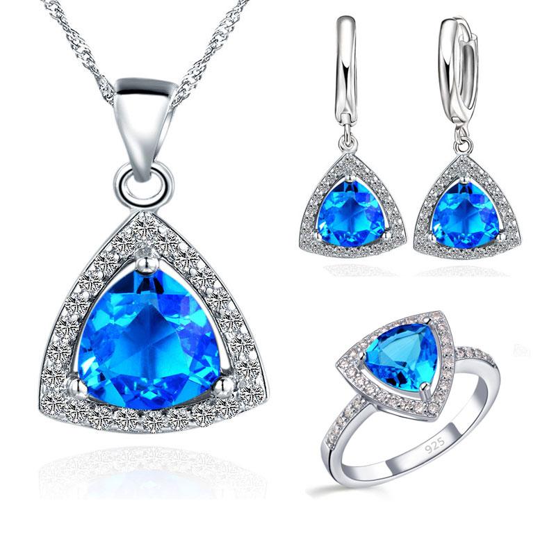 Azul de la joyería de grasa triángulo cúbico de circonio de piedra pendientes de plata de ley 925 colgante collares anillos de dedo US6-9