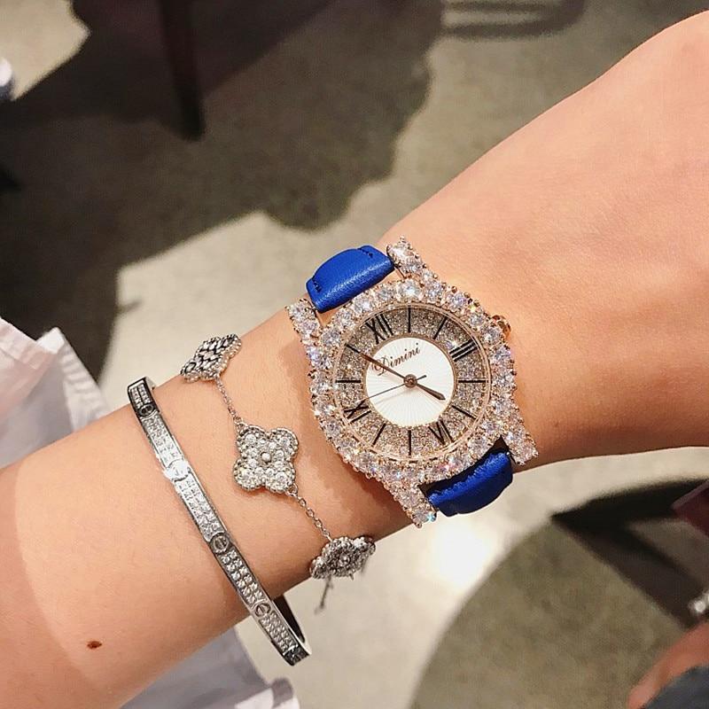 Super Rose Gold Diamond Ladies Watch Women New Dress Watches New  Luxury Leather Strap Woman Quartz Watch Clock reloj mujer