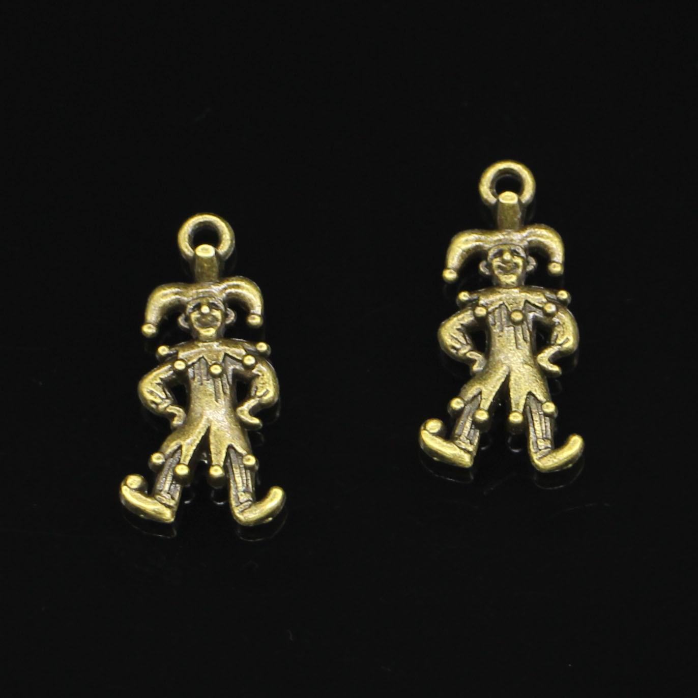 16 Uds estilo antiguo bronce Color payaso joker jester colgantes hallazgos encantos 25*12mm