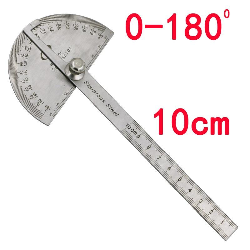 Carpintería 180 grados buscador del ángulo del transportador ajustable regla de artesano pinza de acero inoxidable 10cm herramientas de medición