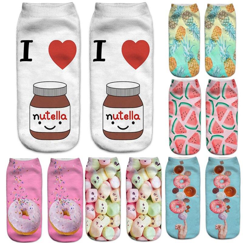 Dreamlikelin/женские носки с объемным принтом еды, пончики, гамбургер, картофель фри, яркие женские носки Harajuku, женские носки с радужным узором