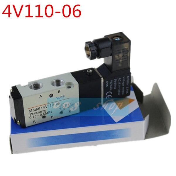 "4V110-06 5 Way 2 Position 1/8"" Pneumatic Solenoid Valve DC 24V DC 12V AC 110V AC220V"