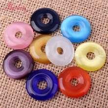 20mm lisse anneau rond beignet yeux de chat gemme pierre pendentif à breloque perles en vrac 1 pièces pour bricolage femmes collier Bracelet fabrication de bijoux