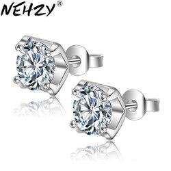 Nehzy prata nova brincos femininos simples luxo zircônia jóias praça estética temperamento princesa brincos
