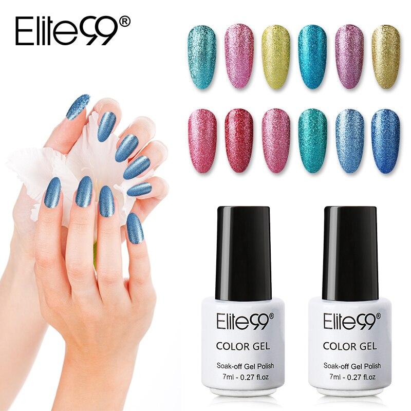 Elite99 7ml Platinum Color Soak Off Gel Nail Varnish Semi Permanent UV Gel Nail Polish Glitter Colorful Nail Art Gel Varnishes