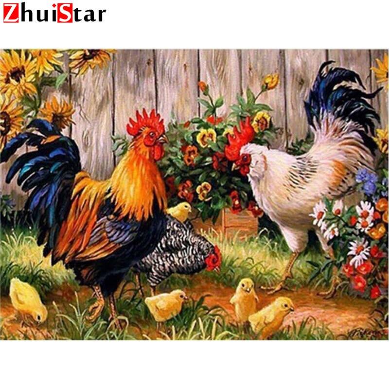 Pintura diamante Bordado Ponto Cruz Galo Animal Imagem Presente de Natal Praça Cheia de Strass Diamante Mosaic WHH