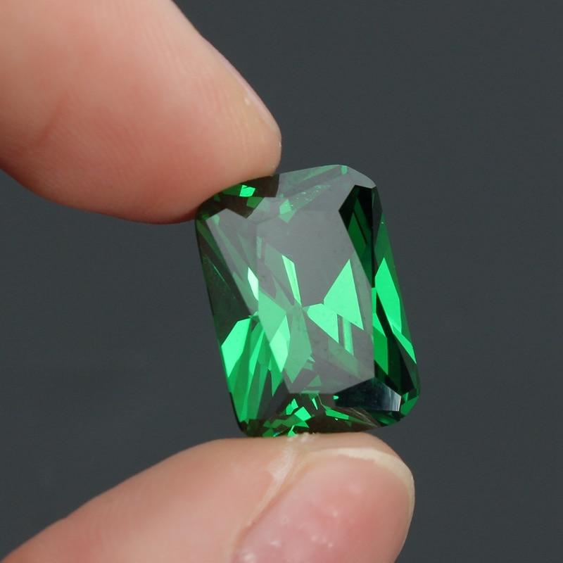 KiWarm New 9.08CT Unheated Dazzling Artificial Green Sapphire 10X14MM Diamond Emerald Loose Gemstone DIY Jewelry Pendant Crafts