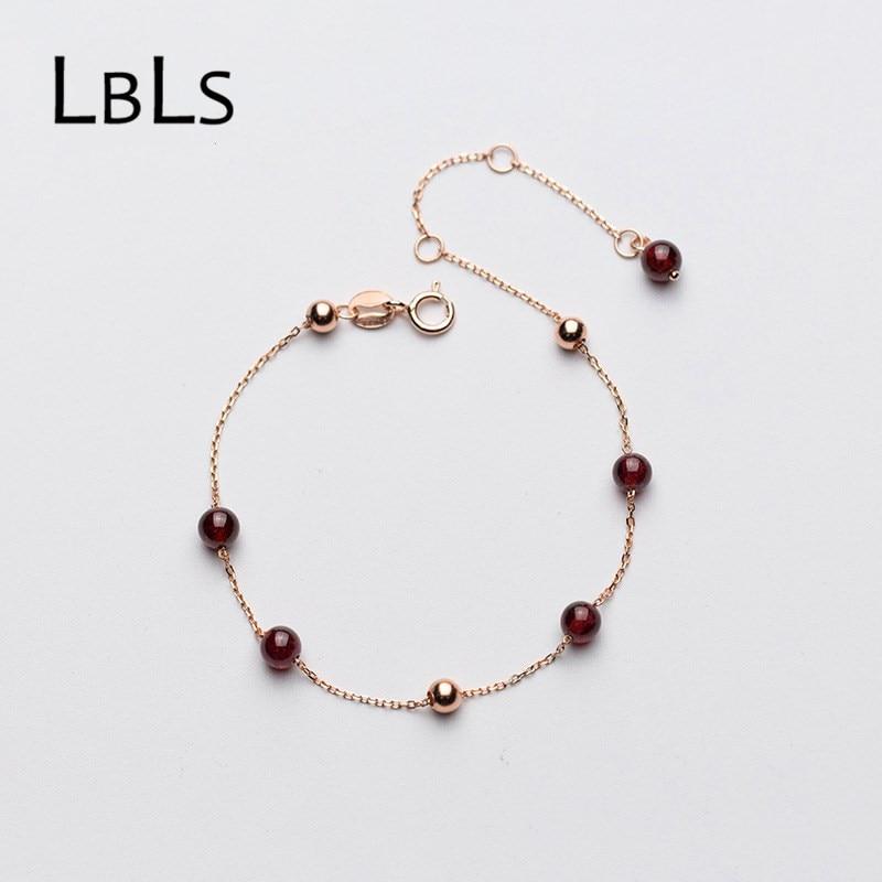 Lbls pulseira de prata genuína 925 rosa ouro corrente pulseiras para feminino menina feminino garnet encantos pulseira contas jóias presente