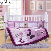 7PCS Embroidery 100% cotton baby cot bedding sets baby crib sheet kit de berço (4bumper+duvet+sheet+pillow)