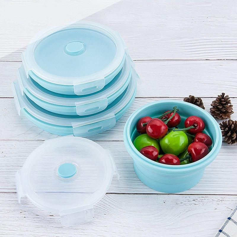 مجموعة أوعية طعام من السيليكون قابلة للطي, علبة طعام مبتكرة وصديقة للبيئة قابلة للميكرويف