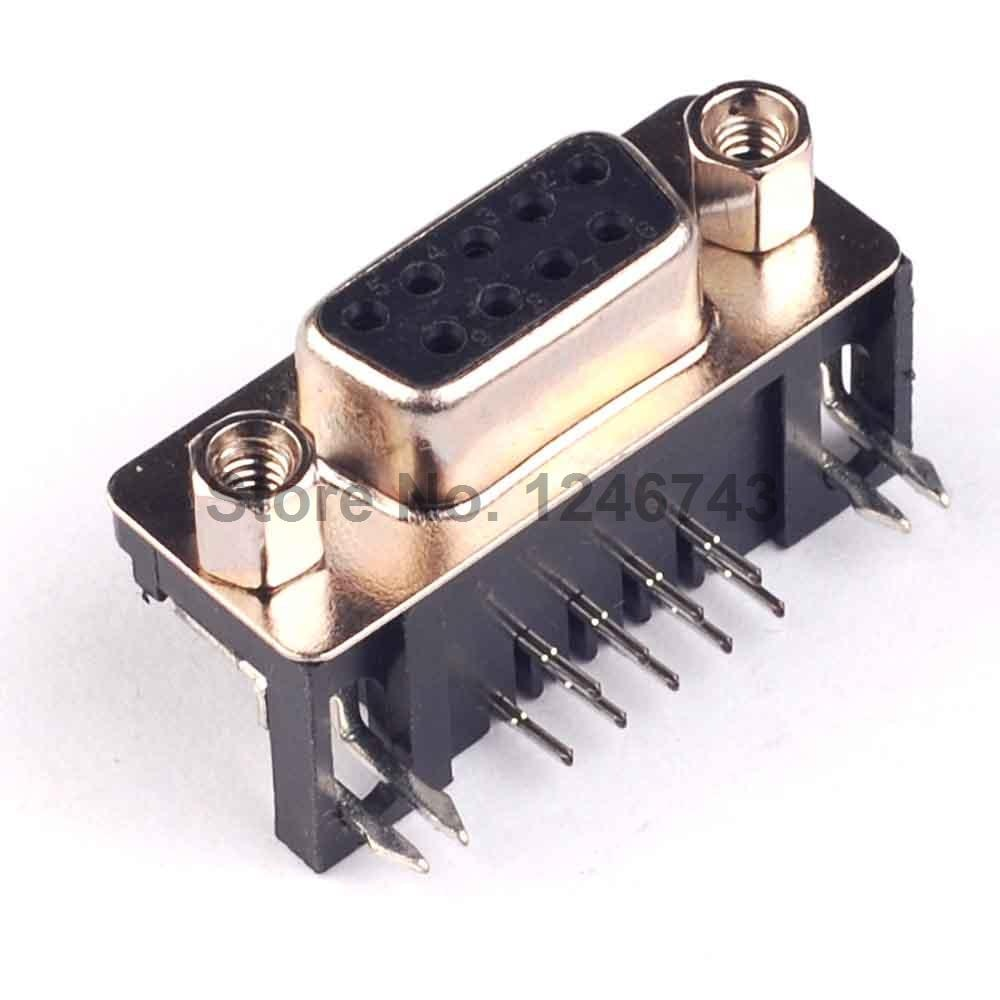 50PCS DB-9 DB9 Female PCB Mount D-Sub 9Pin PCB Stecker RS232 Stecker Auf Lager