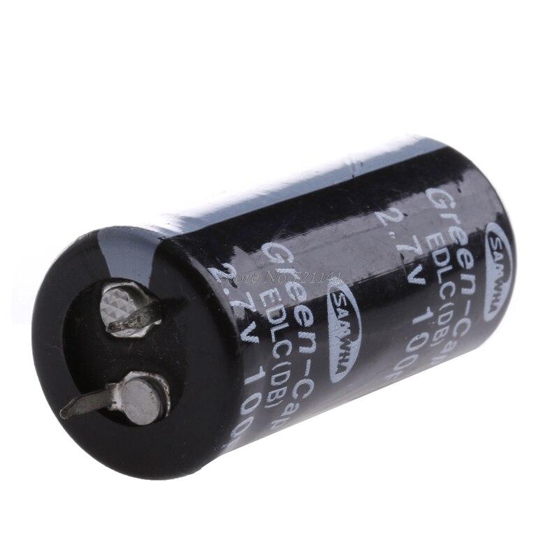 2 uds Super condensador 2,7 V 100F Ultra condensador Farad nuevos componentes eléctricos Color Negro Dropship
