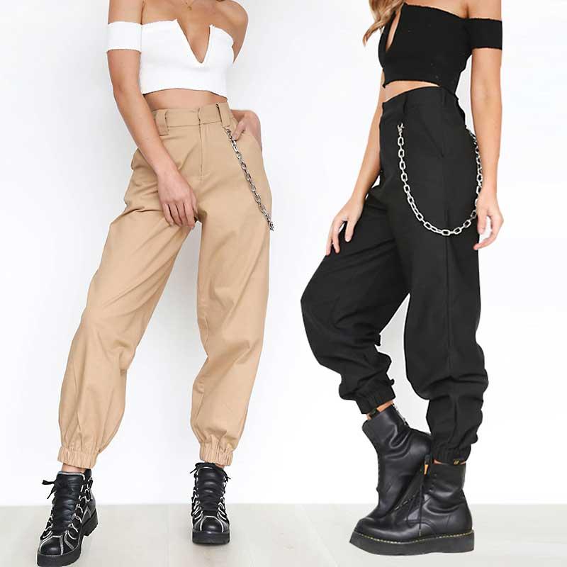 Cotton Harem Pants Women Loose Trousers With Chains High Waist Pockets Full Length High Street Good Quality Khaki Black B80992