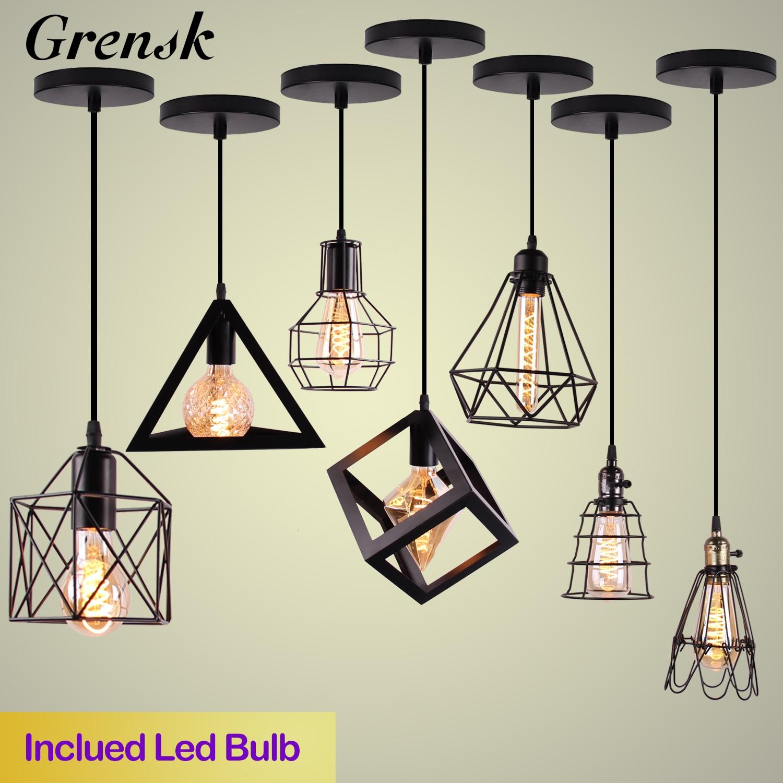 Nordic Anhänger Lichter Eisen Minimalistischen Loft Käfig Pyramide Anhänger Lampe Moderne Industrie Metall Hängen Lampe Parlor E26 E27 LED NEUE