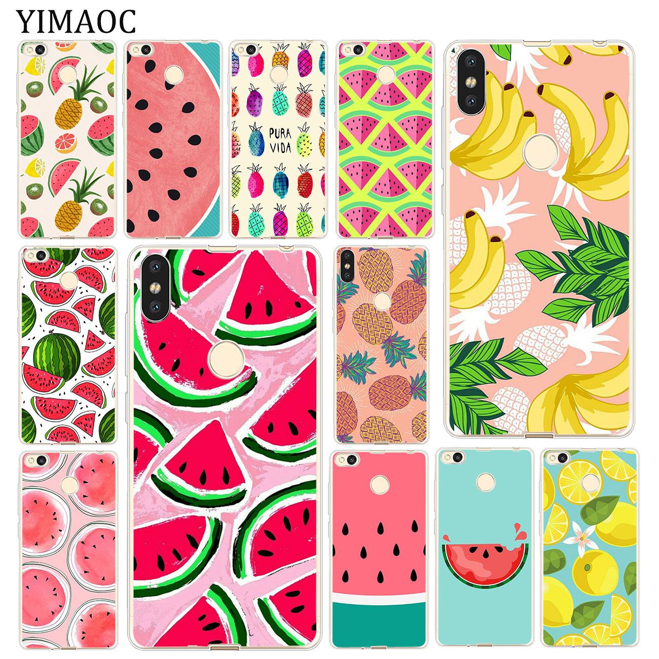 Funda blanda YIMAOC banana sandía fruta verano para Xiaomi mi Red mi 8A 7A 6A 5A 4X Note 8 7 6 Pro 5 Plus