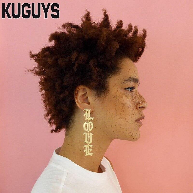 KUGUYS Модные Акриловые Украшения Для женщин золотистый зеркальный Акрил 8 см длинные серьги-гвоздики для девочек подарок на день с надписью «lovely» крупные серьги