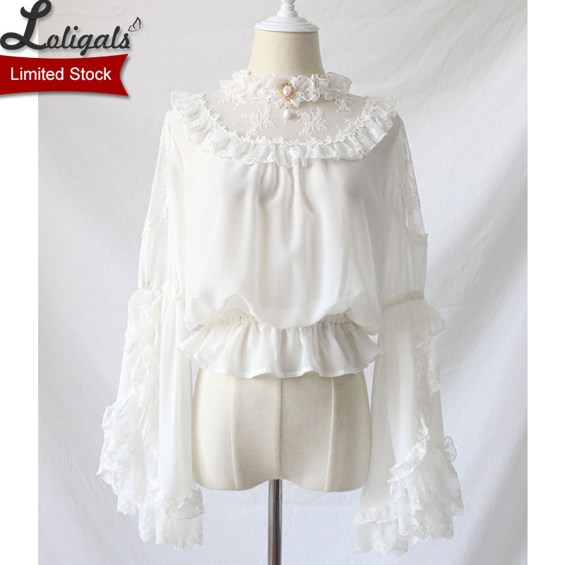Gothic Victorian Style Women's Chiffon Top Sheer Ruffle Neck Flare Sleeve Black/White Lolita Blouse by Alice Girl