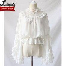 Женская блузка в стиле Лолиты, Черная/белая блузка в стиле «Лолита», с рюшами и рукавами-фонариками
