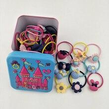 40Pcs Kids Hair Holders Cute Flower Rubber ring  Scrunchy Gum Headbands Hairband RopeHead Band Elastic Hair Accessories For Girl