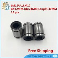 Линейные шаровые подшипники LM12UU 12 мм, 12 шт.