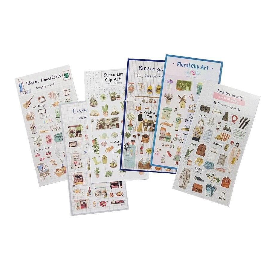 1 hoja/Paquete de pegatinas artísticas bonitas de la serie Life, diario, Kawaii, decoración, planificador de colección de recortes, pegatinas de papel, adhesivo para niños