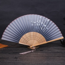 1Pc Vintage Chinese Stijl Gesponnen Zijde Bloem Afdrukken Hand Fan Folding Hollow Gesneden Hand Fan Party Benodigdheden Bruiloft Decor