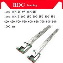 Guide linéaire de 12mm MGN12 L = 100 200 300 350 400 450 500 550 600 700 800 mm   rail linéaire + MGN12C ou MGN12H chariot linéaire Long