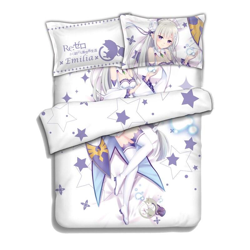 Anime japonés Re Zero kara Hajimeru Isekai Seikatsu Emilia sábana o edredón con dos fundas de almohada ropa de cama