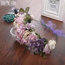 Haimeikang-couronne de cheveux pour filles   Bandeau princesse adorable, fleur, style Boho, bandeau pour coiffure de mariée, fête de mariage