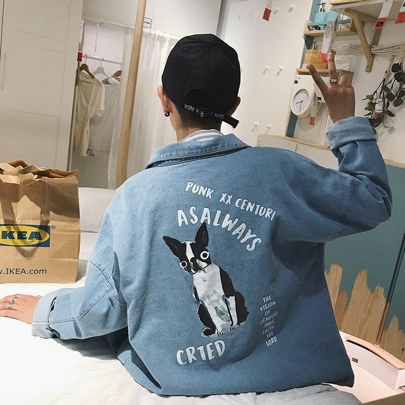 2018 Homens Casual Dos Desenhos Animados imprimir Magro em azul Denim Jaqueta Bomber casacos De Alta Qualidade marca de moda outerwear roupas de cowboy S-2XL