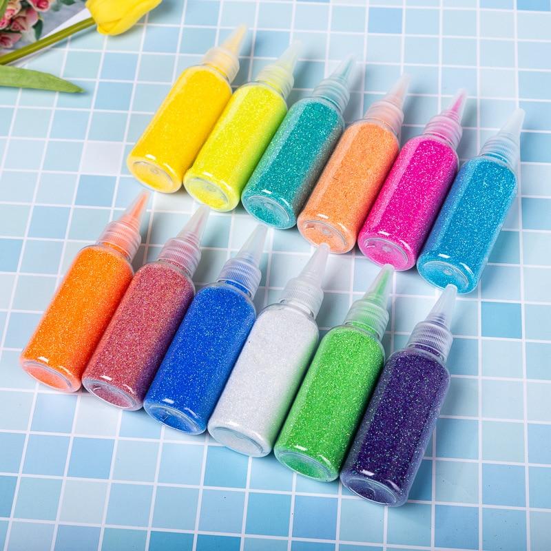 1Pcs 50ML 12 Color Glitter Dust Powder Filler For Nails Art Tips/Balls Slime For Kids Lizun DIY Accessories Supplies Decoration