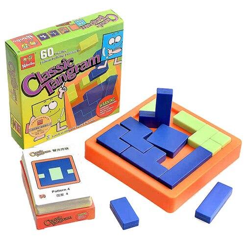 Juego de rompecabezas de bloques de construcción de plástico Nibobo Regalo de Cumpleaños de bebé clásico tangram de inteligencia cuadrado de lógica de tablero de pensamiento 1 pc